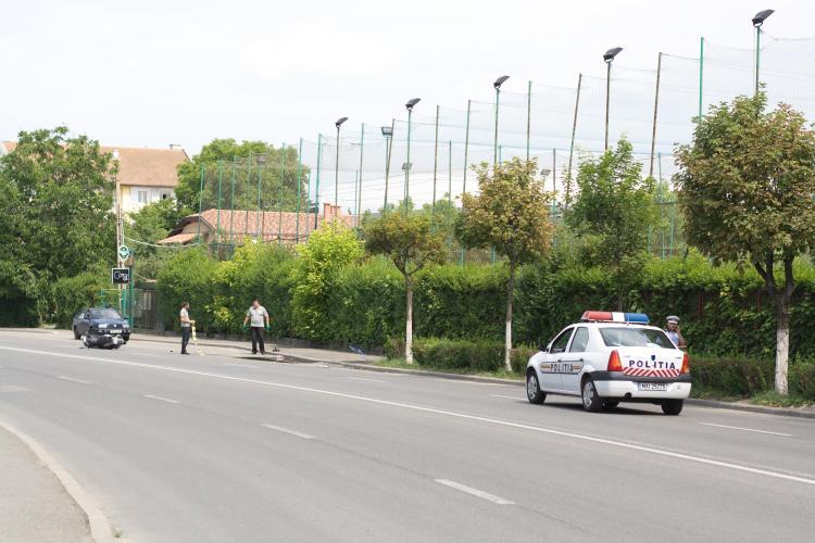 Accident in Grigorescu! Un scuter s-a răsturnat din cauza vitezei! Poliția refuză să ofere informații FOTO
