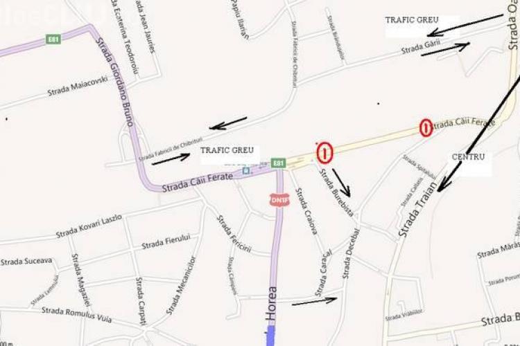 Se închide circulaţia rutieră pe strada Căii Ferate, între străzile Decebal şi Burebista