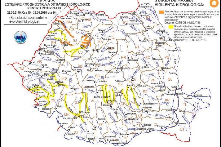O noua avertizare Cod portocaliu de inundatii si viituri pentru mai multe rauri din Cluj