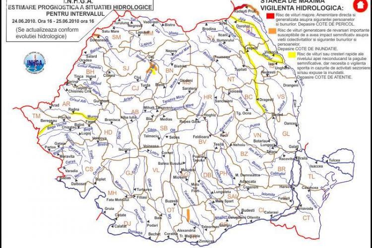 ALERTA: Cod portocaliu de inundatii in judetul Cluj