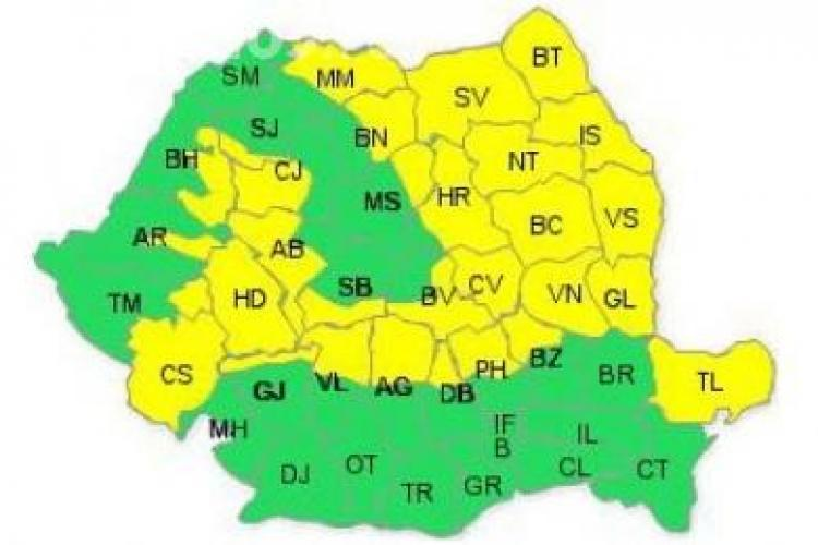 Cod galben de ploi torentiale in judetul Cluj. Cod portocaliu de inundatii si viituri