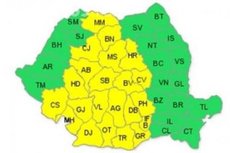 Atentionarea Cod galben de furtuni a fost prelungita la Cluj pana duminica seara