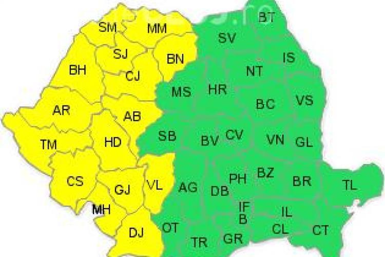 Cod galben de vijelie si grindina la Cluj