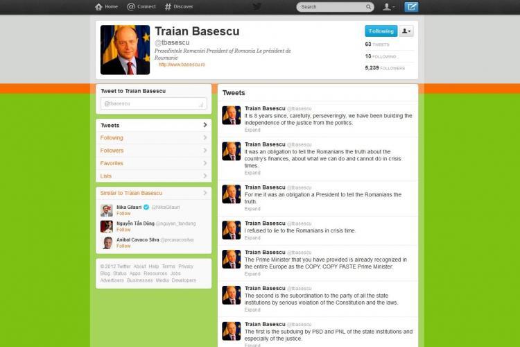 Băsescu e activ pe Twitter unde scrie şi în engleză