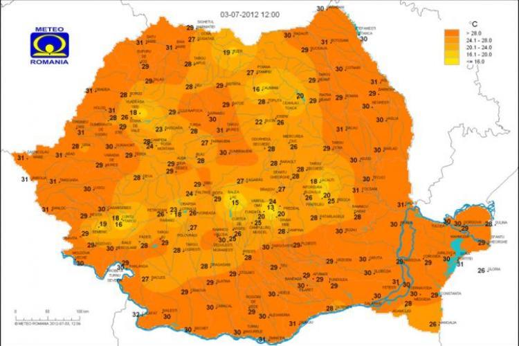 Care sunt cele mai răcoroase locuri din județul Cluj VEZI HARTA