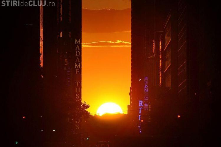 Manhattanhenge, aliniere magică a soarelui în Manhattan FOTO