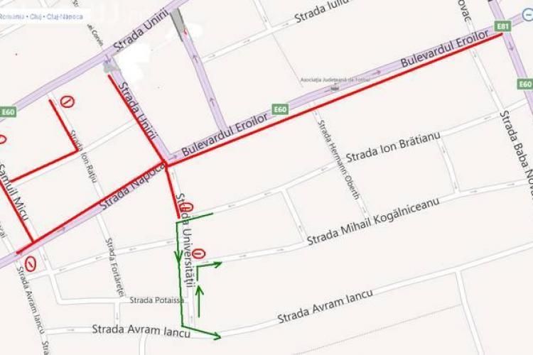 Se închide traficul în Centrul Clujului. Ce manifestări vor avea loc în Piața Unirii