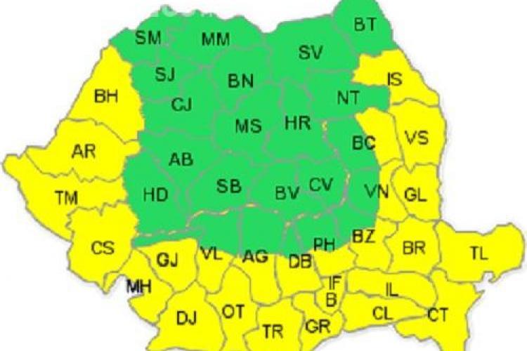 COD GALBEN: Clujul nu este vizat