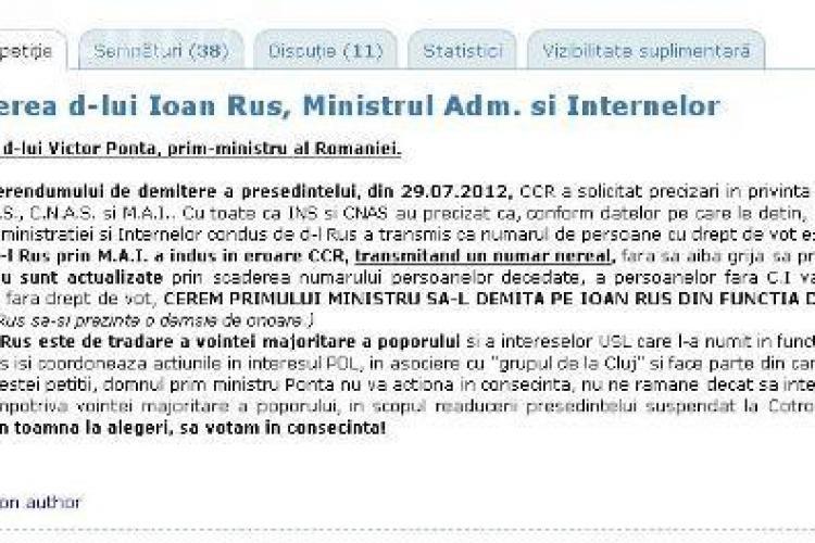 Petiţie online: Cerem demiterea d-lui Ioan Rus, Ministrul Adm. şi Internelor