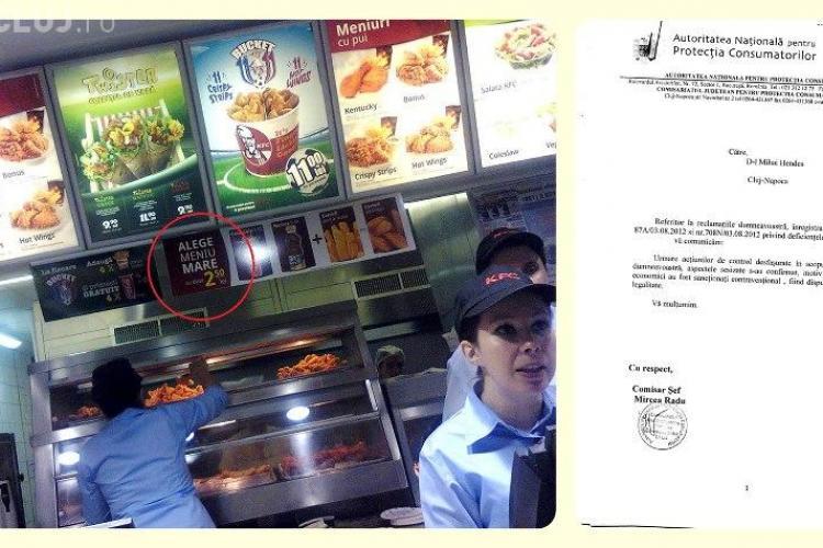 KFC Cluj, AMENDAT cu 2.000 de lei pentru reclamă MINCINOASĂ