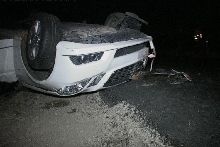 Accident la Câțcău! Cum s-a făcut PRAF un Mercedes de 50.000 de euro VIDEO și FOTO