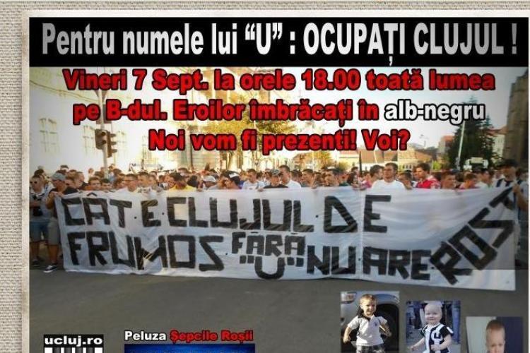 """Fanii """"U"""" Cluj IES din nou în stradă pentru echipa lor de suflet!"""