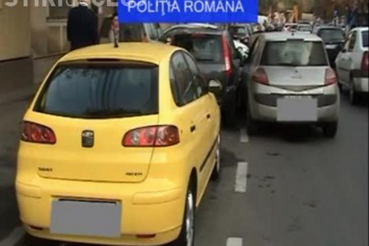 Cluj: Un șofer beat a lovit două mașini la ora 8.00 dimineaţa. Bărbatul avea în bordul mașinii două beri - VIDEO