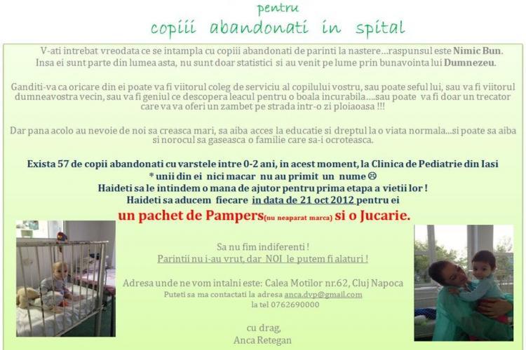 Clujenii chemați să doneze o jucărie și scutece copiilor abandonați în spital