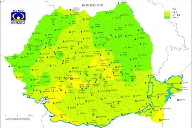 Harta celor mai scăzute temperaturi din județul Cluj - FOTO