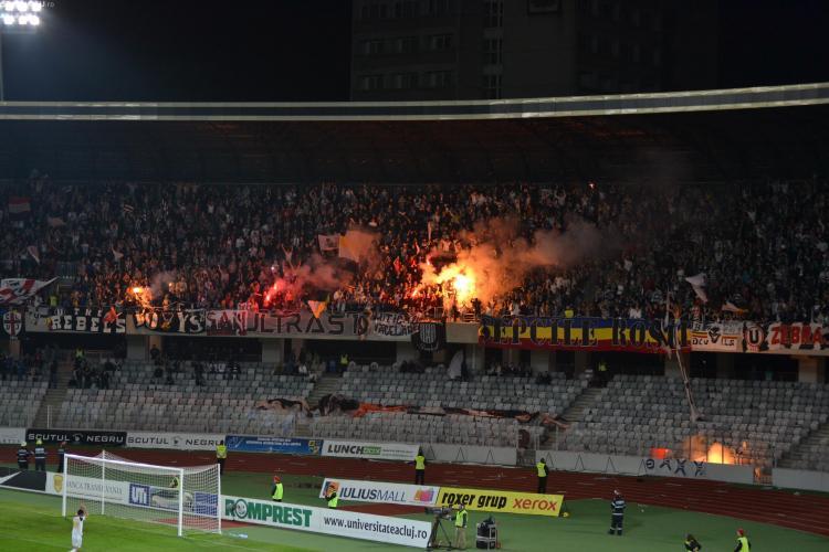 Suporterii U Cluj, amendați pentru că au înjurat la meciul cu CFR Cluj