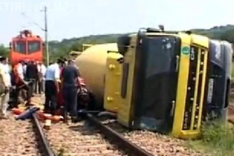 Cisternă răsturnată la ieșire din Cluj. Șoferul a fost rănit