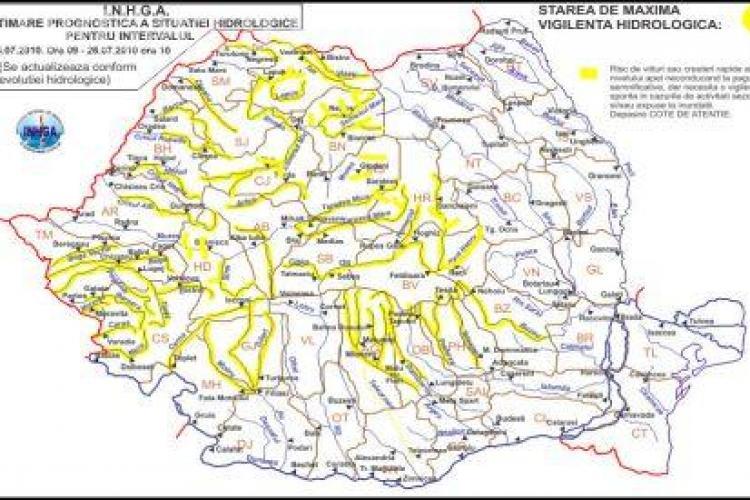 Avertizare Cod Galben de indundatii si torenti la Cluj