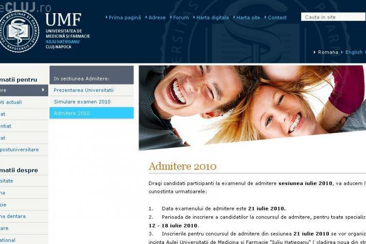 Site -ul UMF Cluj este blocat din cauza numarului mare de accesari. Rezultatele la examenul de admitere 2010 trebuiau postate de la 8.00