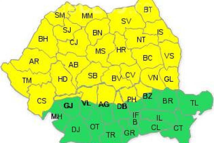 Avertizare Cod galben de ploi puternice, vijelie, grindina la Cluj