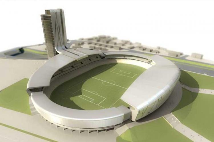 """Turnul stadionului municipal """"Cluj Arena"""", construit intr-un parteneriat public-privat"""
