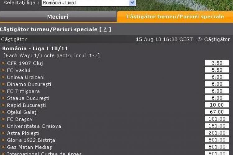 CFR Cluj, favorita la castigarea titlului la casele de pariuri. Vezi ce cota are Universitatea Cluj!