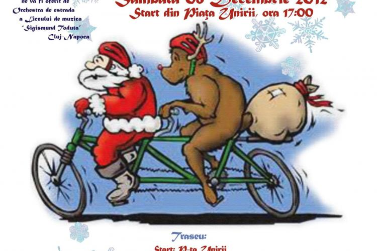 Ciclo-moșii ies pe stradă în Cluj-Napoca și le dau cadouri copiilor