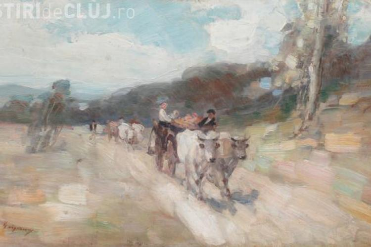 Pictura Carul cu boi a pictorului Grigorescu expusă la Cluj