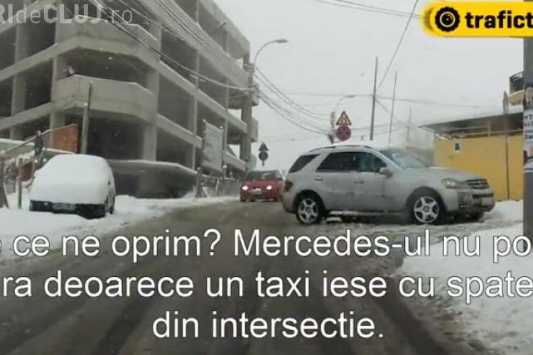 Când ninge șoferii din Cluj-Napoca sunt și mai INDISCIPLINAȚI - VIDEO