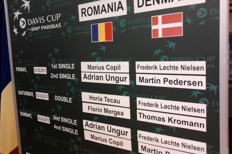 CUPA DAVIS la CLUJ: Programul meciurilor România - Danemarca