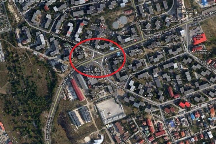 Sens giratoriu în intersecţia Observatorului - strada Gheorghe Dima și strada Lunii