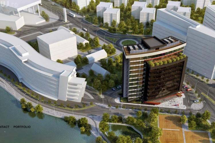 Cum va arăta zona lacului Gheorgheni cu două clădiri mari de birouri - FOTO SIMULARE