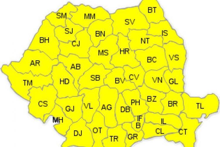 ANM extinde codul galben pentru toată țara. Vezi cum va fi în Cluj