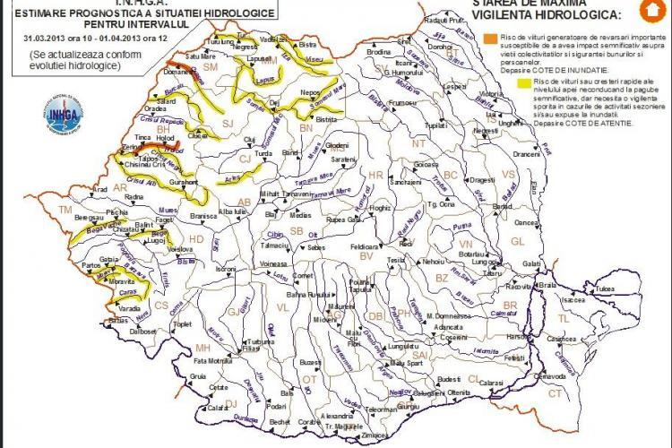 AVERTIZARE METEO: Clujul n-a scăpat de inundații. Codul galben se prelungește