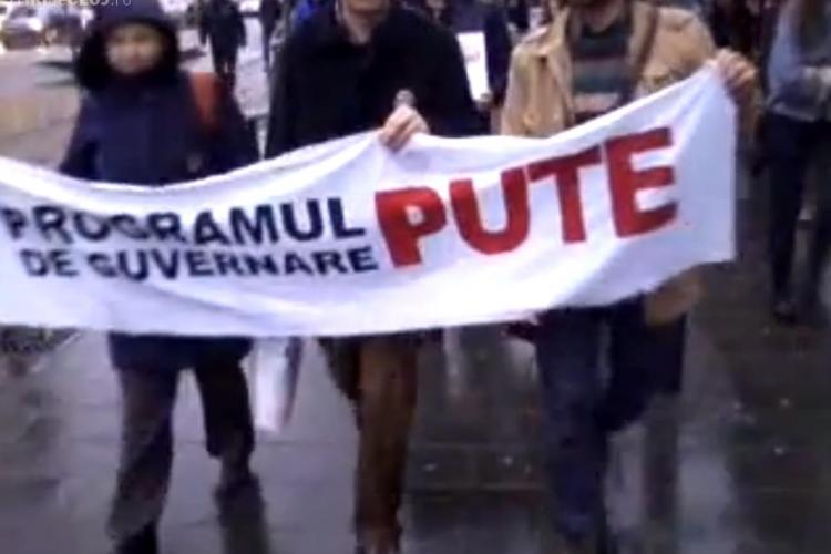 Cluj: Protest împotriva exploatării gazelor de şist - VIDEO