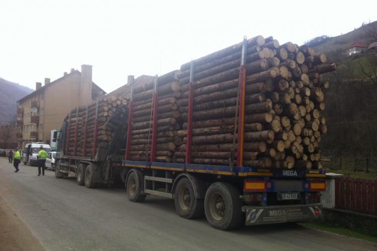 Camioane cu lemne furate, sechestrate de localnici la Măguri Răcătău - FOTO