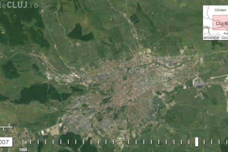 Clujul, văzut din spațiu. TIMELAPSE 1984 - 2012 - Cum au DISPĂRUT zonele verzi