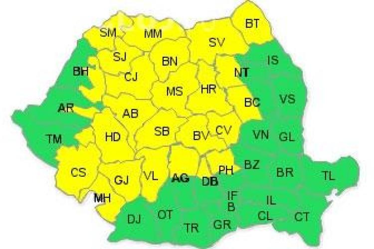 Cod galben de ploi si vijelii in Cluj si alte 25 de judete din tara