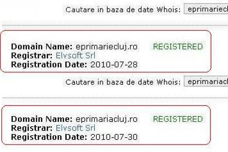 Domeniile eprimariecluj.ro si eprimariacluj.ro au fost cumparate de o persoana fizica