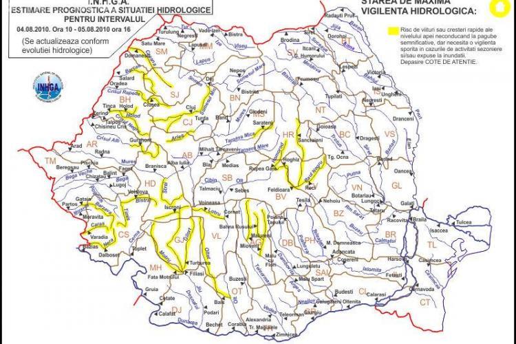 Cod galben de inundatii in judetul Cluj pana vineri la ora 16.00