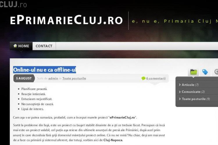 """eprimariecluj.ro este functional! Clujeanul care a """"suflat"""" domeniul de sub nasul primariei are un mesaj: """"Online-ul nu e ca offline-ul"""""""