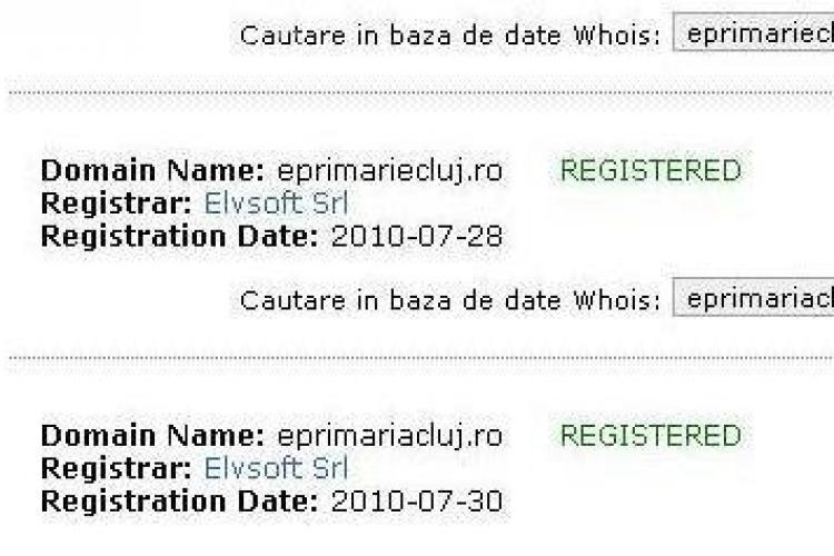 Primaria a luat o teapa dubla! Dupa eprimariecluj.ro, prin aceeasi firma de webdesign a fost cumparat si eprimariacluj.ro