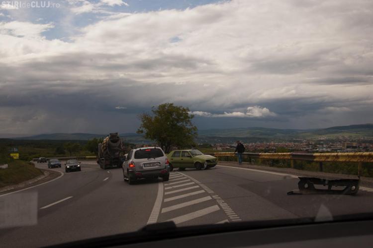 Accident pe Feleac în apropiere de Curba Morții - FOTO