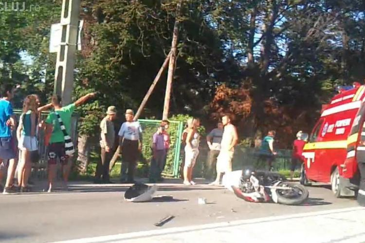 Accident în Gilău! Un motociclist a fost rănit - VIDEO  UPDATE