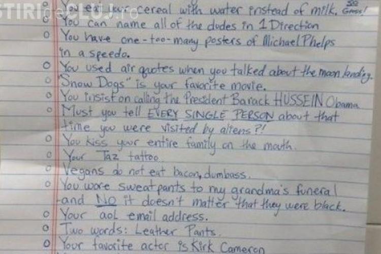 Scrisoarea cu care o fată și-a umilit fostul iubit pe internet FOTO