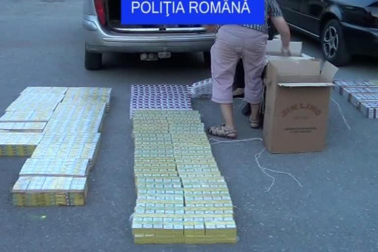Trei suspecţi reţinuţi de poliţiştii clujeni pentru contrabandă cu ţigări - FOTO