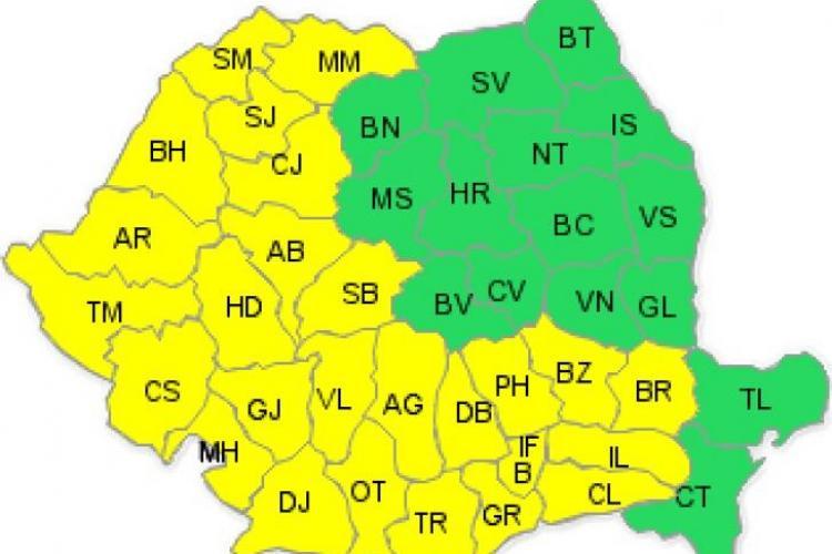 COD GALBEN de caniculă în Cluj. Ce temperaturi se înregistrează