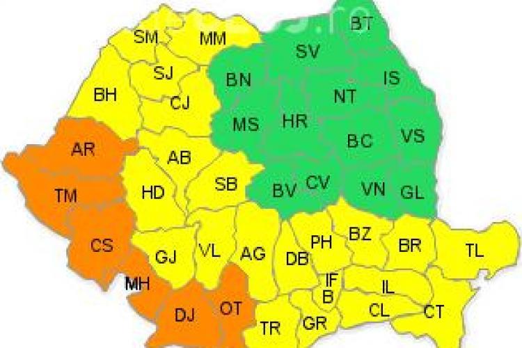 COD GALBEN de caniculă la Cluj și alte 20 de județe din țară