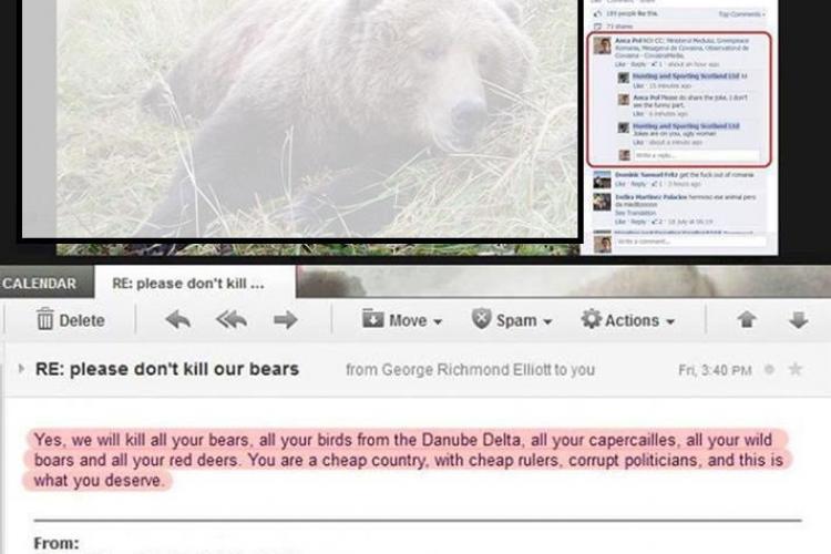 """""""Vom ucide toti urșii vostri. Sunteti o țară ieftină!"""" - Anunțul unui vânător străin pe Facebook"""