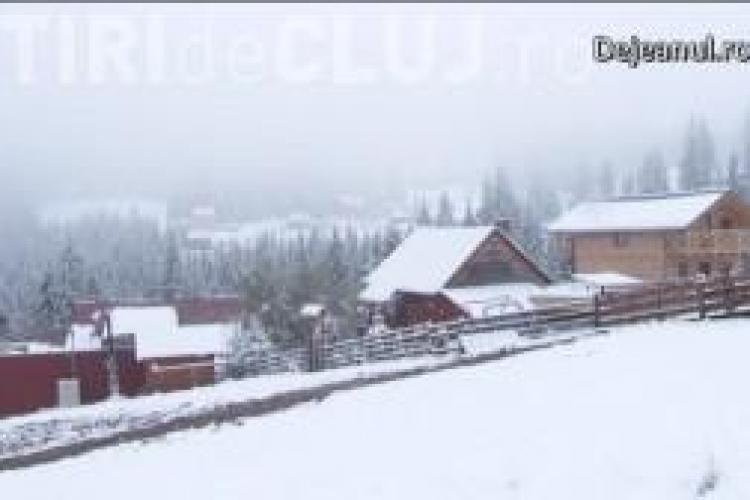 Prima ninsoare din județul Cluj. Vezi unde e zăpada de 12 cm VIDEO